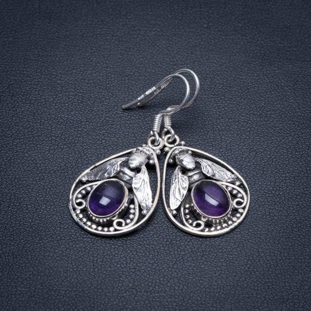 Natural Amethyst Cicada Handmade Indian 925 Sterling Silver Earrings 1 1/2 S1507Natural Amethyst Cicada Handmade Indian 925 Sterling Silver Earrings 1 1/2 S1507