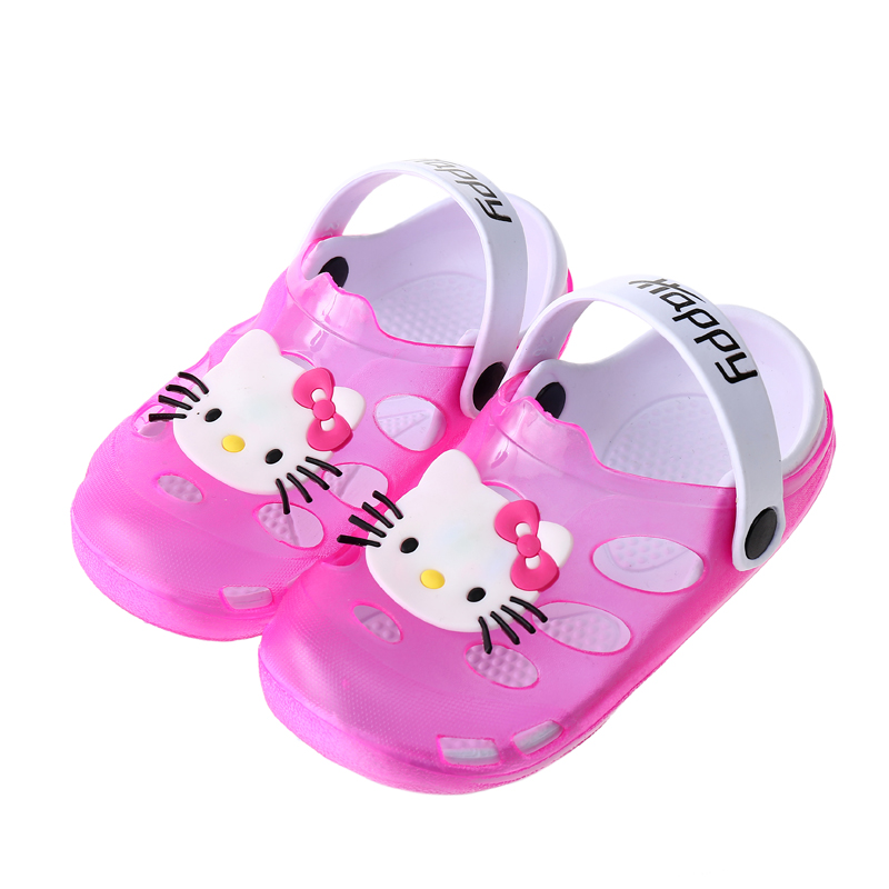 Hello Kitty Kids Shoes for Girl Boy Clogs Summer Beach Little Girls Indoor Slippers Panda Boys Sandals Rabbit 2-7 Years Old