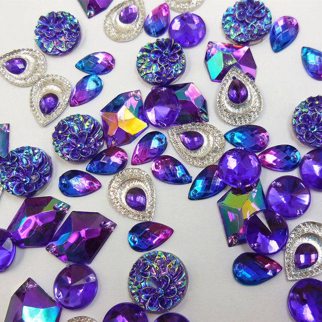 AMazing Mix Shape Royal Blue Purple Sew on For Wedding Rhinestones Sewing  Crystal Stone Buttons DIY Crafts Costume Decorations fa8b37c1560d
