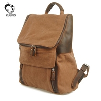 KUJING Leather Men And Women Backpack High End Large Capacity Students Canvas Backpack Cheap Luxury Travel