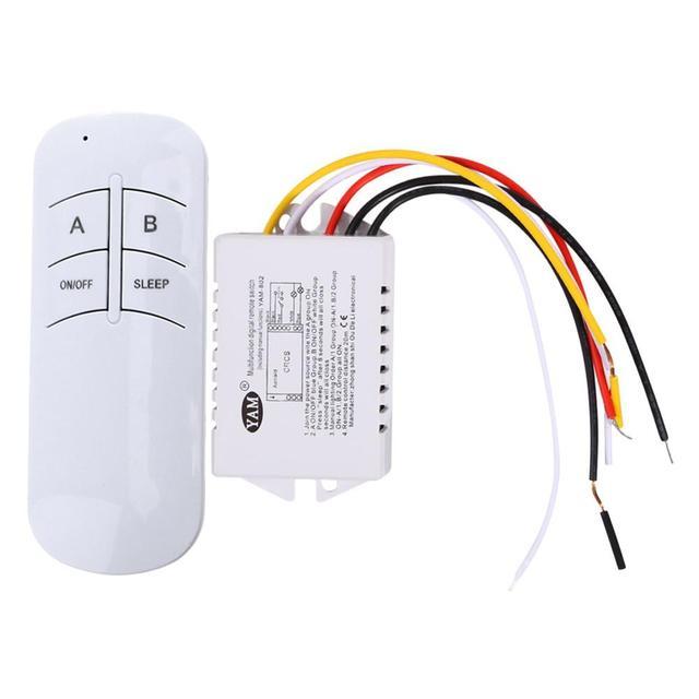 Wireless ON/OFF Switch 2 Ways 220V 2 Channel Wireless Remote Control Switch Digital Remote Control Switch for UV Lighting