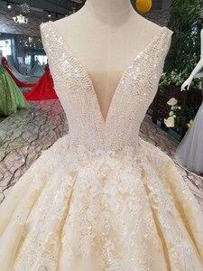 Image 4 - LSS1011セクシーなノースリーブのウェディングドレス床の長さアップリケvバック光沢のある美容ウェディングドレス белый сарафан