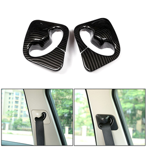 Image 1 - 2pcs Car Styling ABS Carbon Fiber Texture Front Seat Safety Belt Cover Frame Trim For BMW X5 X6 F15 F16 2014 2015 2016 2017 2018