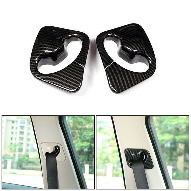 2pcs Car Styling ABS Carbon Fiber Texture Front Seat Safety Belt Cover Frame Trim For BMW X5 X6 F15 F16 2014 2015 2016 2017 2018