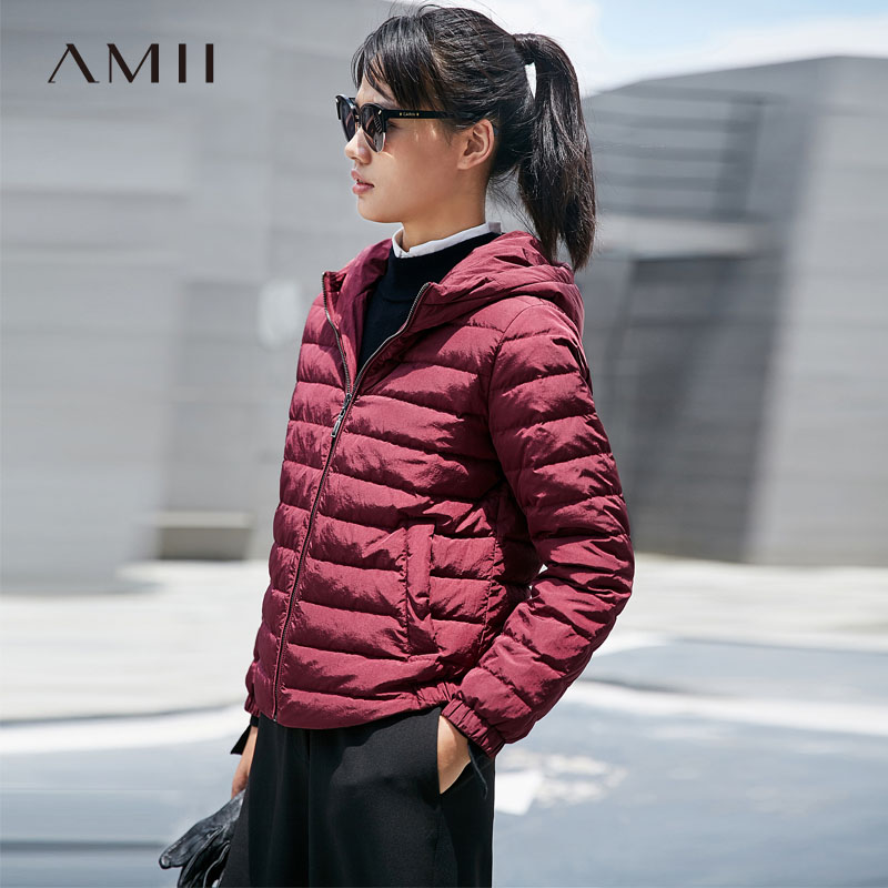 Amii Minimalist 2018 Winter Women Solid Short Hooded 90% White Duck   Down     Coats   Femal   Down   Jackets