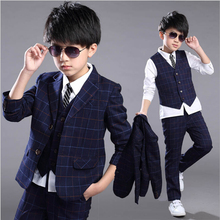 2017 New Children Formal Suits For Boys Four-14Y Autumn Plaid Clothing Sets Blazer + Vest + Pant 3pcs Wedding Wear