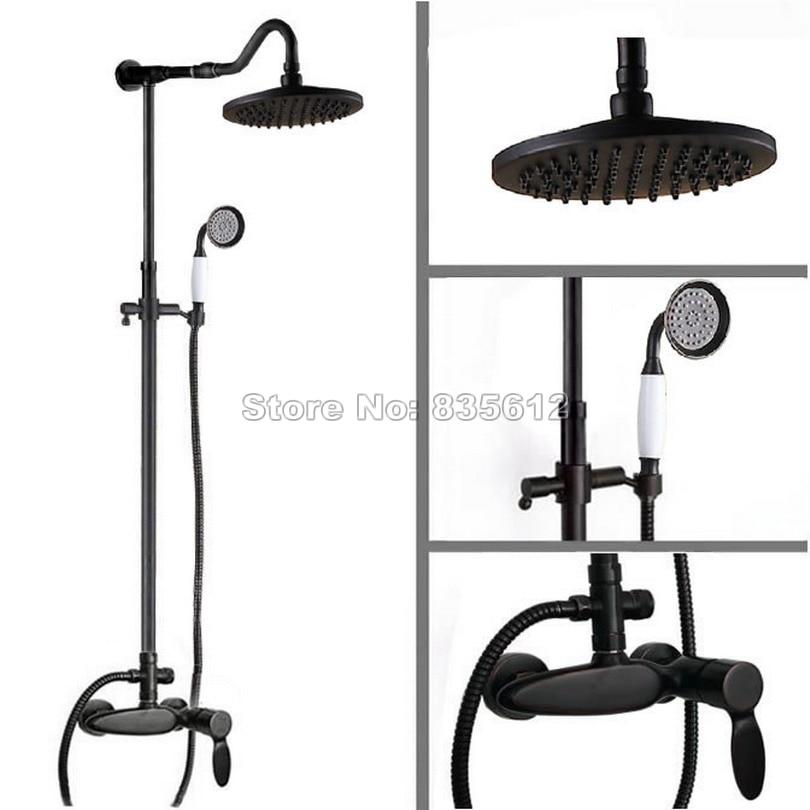 Black Oil Rubbed Brass Luxury Rain Shower Faucet Set W/ Ceramic Handheld Shower / 8 Shower Head /Single Handle Mixer Tap Wrs726