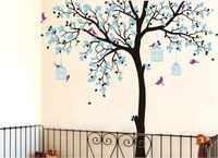 Bird Cage Big large Tree Nursery DIY Wall Stickers Waterproof eco friendly Removable Vinyl Decal for Kids Baby room