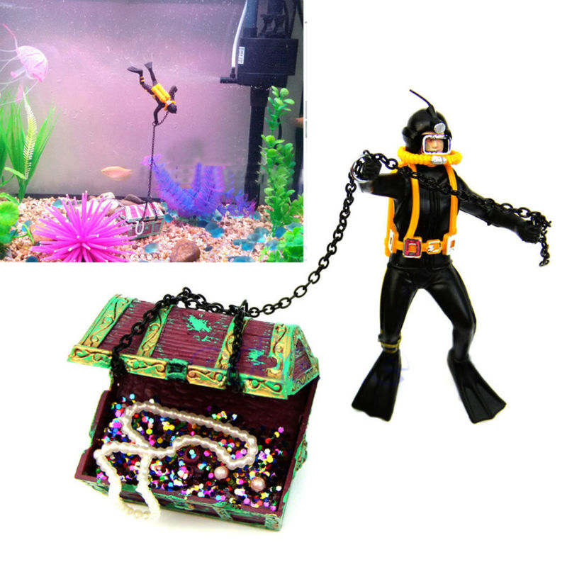 Neueste Aquarium Ornament Schatz Taucher Hunter Schatz Figur Action Fish Diver Tank Ornament Aquarium Landschaft