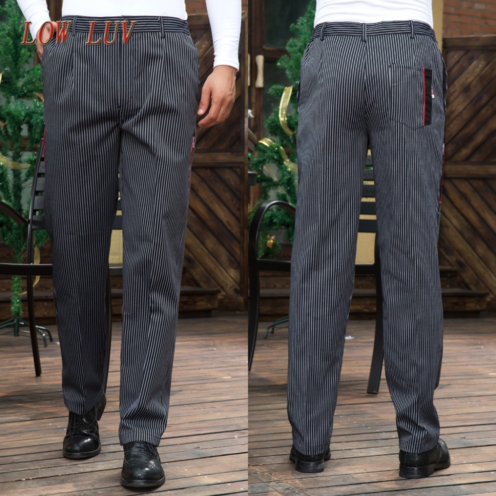 food service Free Shipping autumn Cook pants work pants checked striped chef pants unisex chef trousers