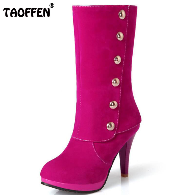 TAOFFEN Size 33-43 Sexy Ladies High Heel Boots Women Platform Candy Color Round Toe Thin Heels Boot Office Lady Party Club Botas sexy women fashion boots high thin heels shoes round toe platform ladies party over the knee knight boots plus size 43