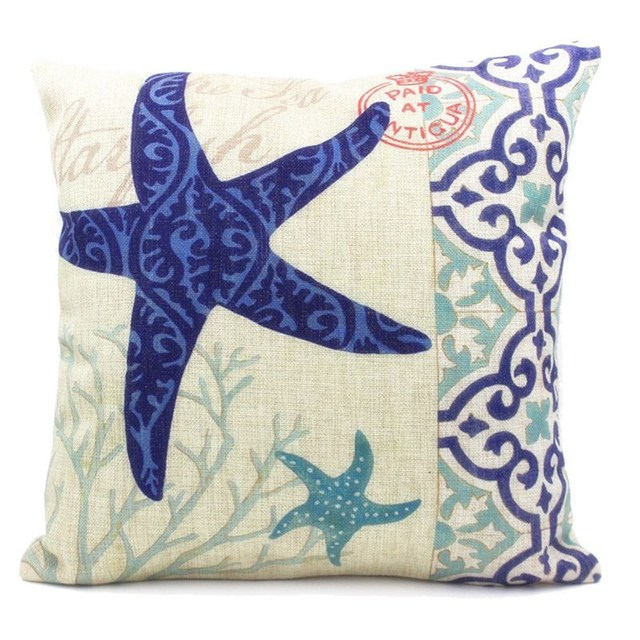 Cushion Case Square Mediterranean Style Sea Shell Decorative Soft Corduroy Couch Pillow Cover 45x45cm Home Textile