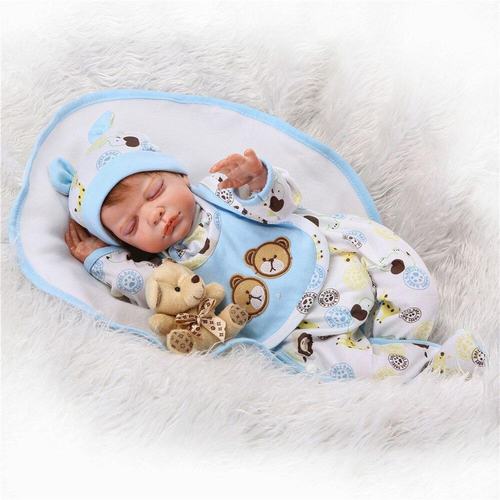 20 inch 50 cm Silicone baby reborn dolls, sky blue set lovely fashion sleeping doll blue sky чаша северный олень