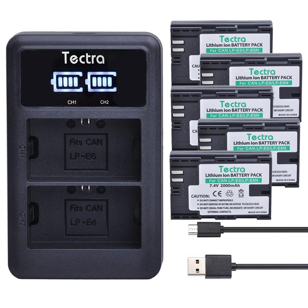 Tectra LP-E6 LP E6 LP E6N digital battery 5pcs+LED Display USB Dual Charger for Canon EOS 5DS R 5D Mark II 5D Mark III 6D 7D 80D durapro 3pcs lp e6 lp e6n battery lcd usb charger for canon eos 5d 5d2 5ds mark ii 2 mark iii 3 6d 60d 7d 7d2 7dii 70d 80d