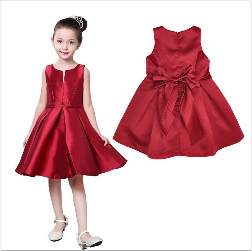 biniduckling summer dresses for girls 2017 brand tulle lace infant toddler pageant bow girl dresses for weddings party red