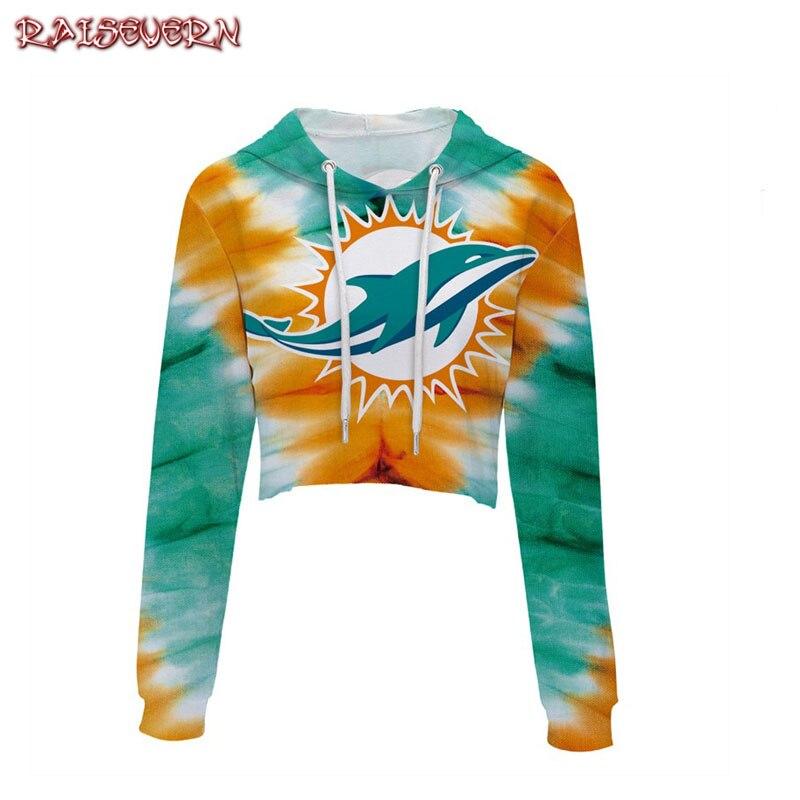 RAISEVERN Hoodies Sweatshirt Women 2018 Girl Animal Dolphins Print Long Sleeve Hooded Crop Tops Pullover Sweatshirt Tops