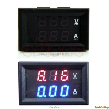 New LED Amp Dual Digital Volt Meter Gauge DC 100V 10A Voltmeter Ammeter Blue + Red Consumer Electronics