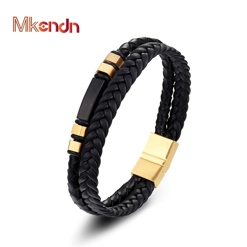 MKENDN 2018 Fashion Stainless Steel Chain Genuine Leather Bracelet Men Vintage Male Braid Jewelry for women