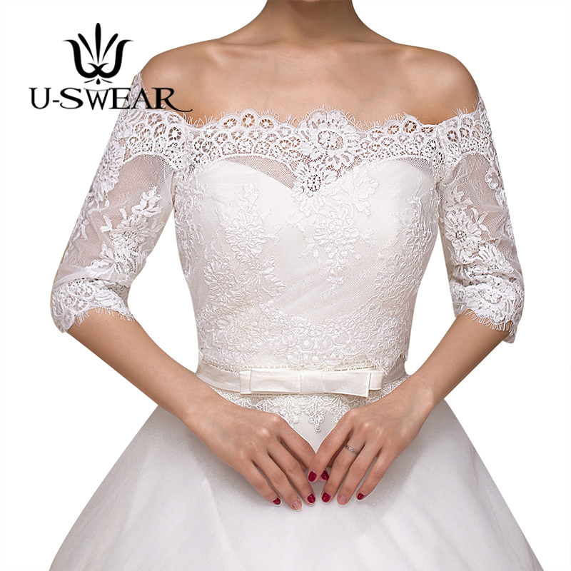 U SWEAR 2018 New Arrival Flora Crocheted Mesh Lace Women Wedding Jackets Off Shoulder Short Sleeve Wedding Accessories Jackets in Wedding Jackets Wrap from Weddings Events
