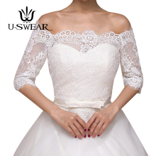 U-SWEAR 2018 New Arrival Flora Crocheted Mesh Lace Women Wedding Jackets Off Shoulder Short Sleeve Accessories