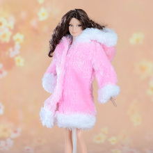 Xmas gift for girls Winter Handmade Pretty high quality Coat fur Windbreaker Top Clothes For Barbie