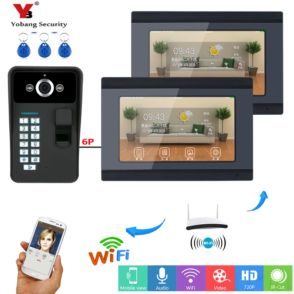 YobangSecurity Fingerprint RFID Password 7 Inch LCD Wifi Wireless Video Door Phone Doorbell Video Intercom 1 Camera 2 Monitor 7 inch lcd video door phone intercom doorbell rfid carder 1 camera 2 monitor with door button href