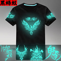 COOL Shinning!Men Tshirt Short O-neck Summer Hip-hop Luminous Clothes Neon Light Emitting 100% Cotton Male Short-sleeve T-shirt