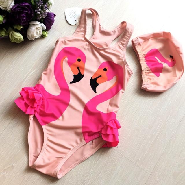aa74d3a38309 Flamingo Girls One Piece Swimsuit Kids Swan Swim Bathing Suits Baby ...