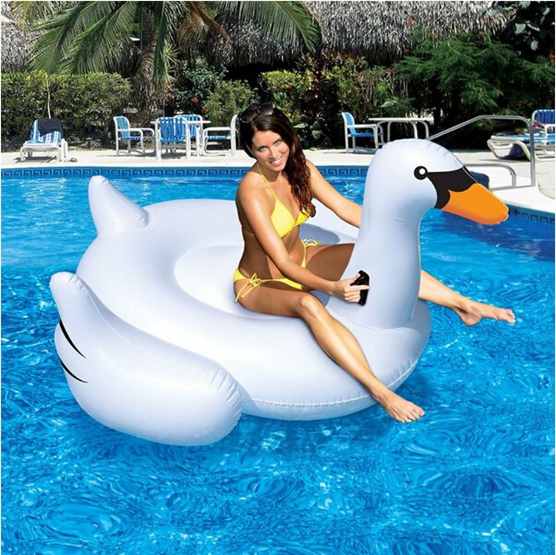 Hight quality ! Summer Hot Giant Swan 60 inch 1.5m Inflatable Ride-On Pool Toy Float Swan Inflatable Swim Ring,Free shipping! tortoise sunshade inflatable toy for baby kid play water bath outdoor toy swim ring pool toy summer ride on floating boat toy