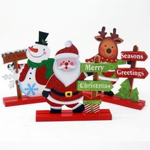 DIY Wood Christmas Snowman Santa Claus Elk Ornament Christmas Gift Table Mini Decoration Wooden Crafts  Party Favor for Children