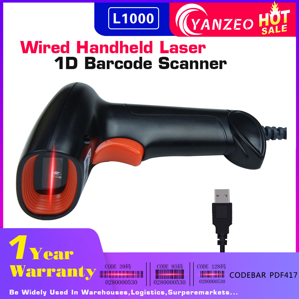 Yanzeo L1000 1D 2D Barcode Scanner Portable USB Wired less Handheld Laser Light Scanner For Supermarket