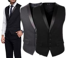 2016 Colete Gray Black Suit Vests For Men Slim Fit Wedding Prom Dinner Groom Waistcoat Custom Made Groomsman Vest chaleco hombre
