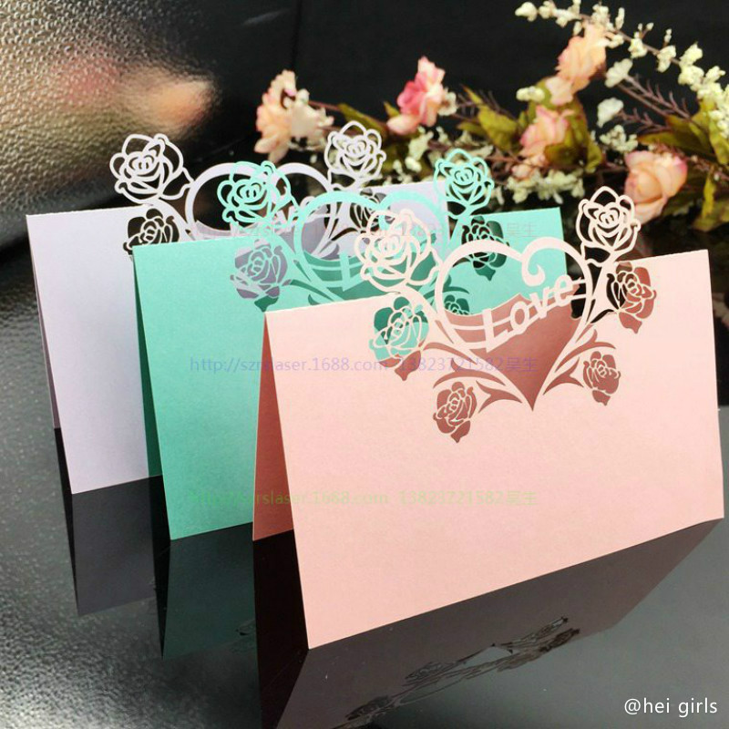 Amawill 100pcs laser cut place cards wedding name cards guest name amawill 100pcs laser cut place cards wedding name cards guest name card wedding party decoration table love flower style 6d in cards invitations from home junglespirit Choice Image