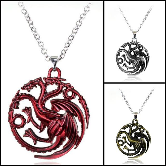 salvare 28367 1ae34 US $1.7 10% di SCONTO|Gioielli Movie Game Of Thrones Daenerys Targaryen  Sangue e del fuoco rosso rotondo collana ciondolo drago Può Cadere il ...