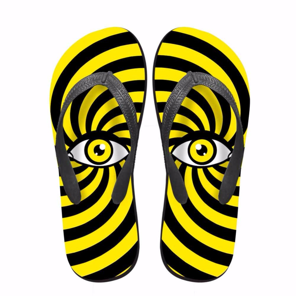 Noisydesigns Colorful striped eyes man shoes printed tongs homme - Men's Shoes - Photo 5