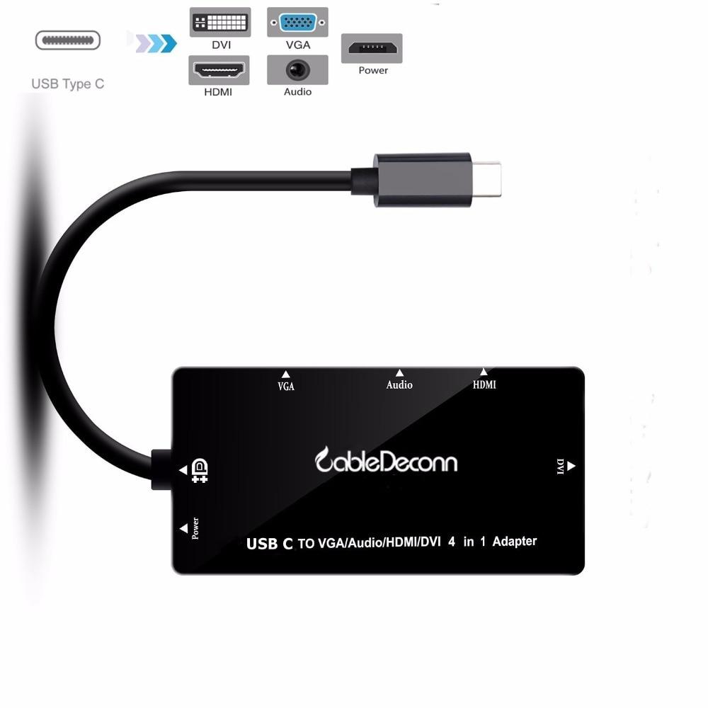Usb c hub adapter Thunderbolt 3 zu hdmi vga dvi mit 3,5mm Audio ...