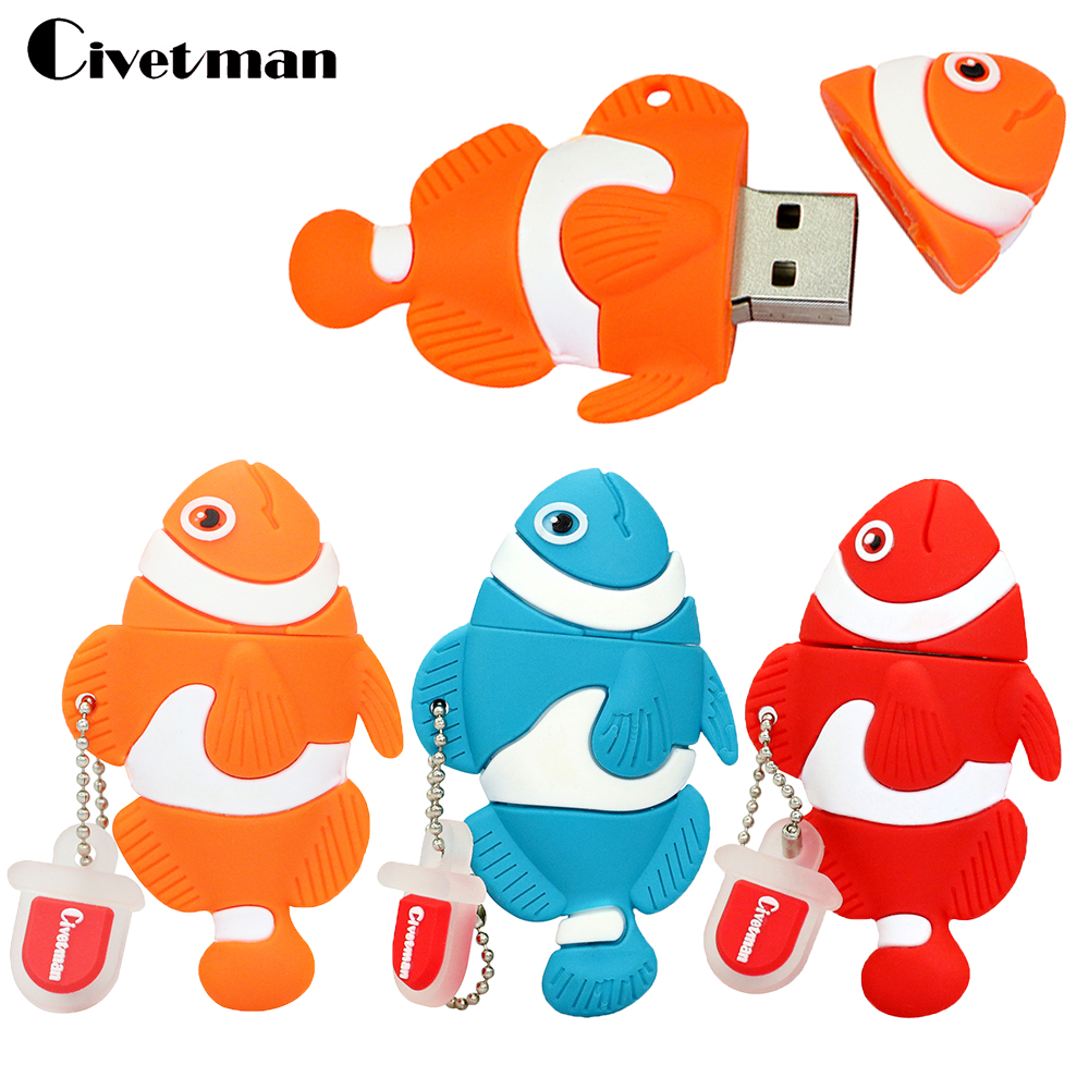Cartoon Clown Fish Pen Drive 128GB USB Flash Drive Pendrive 64GB 32GB 16GB 8GB 4GB Thumbdrive USB 2.0 Memory Stick Disk