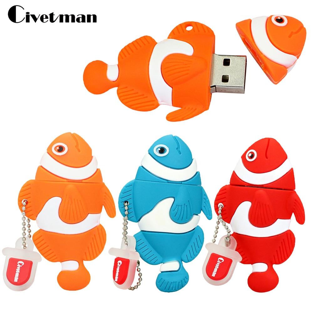 Cartoon Clown Fish Pen Drive 128GB USB Flash Drive Pendrive 64GB 32GB 16GB 8GB 4GB Thumbdrive USB 2.0 Memory Stick Disk