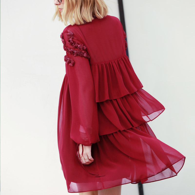 Elegante 2018 Donne Traslucido Abiti Da translucent translucent Chiffon Allentato Femminile Flare Minimalista Translucent Autunno translucent Amii Vestito R0xEdR8