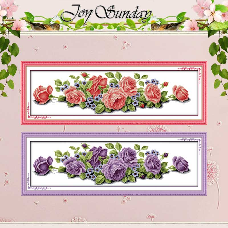 Rose Counted Cross Stitch 11CT Printed 14CT Handmade Cotton Cross Stitch Set Flowers Cross-stitch Kits Embroidery Needlework