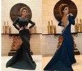 Desfile de Moda Vestido de Sirena de Manga larga Vestidos de La Celebridad Elegante Negro Árabe Musulmán Vestidos de Partido de Baile Vestido de Noche Largo abiye