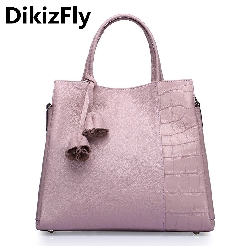 DikizFly Fashion women bags Genuine Leather Luxury Handbags Designer Bolsa Feminina Sac a Main Bolsos Tote Big Shoulder Bag 2017