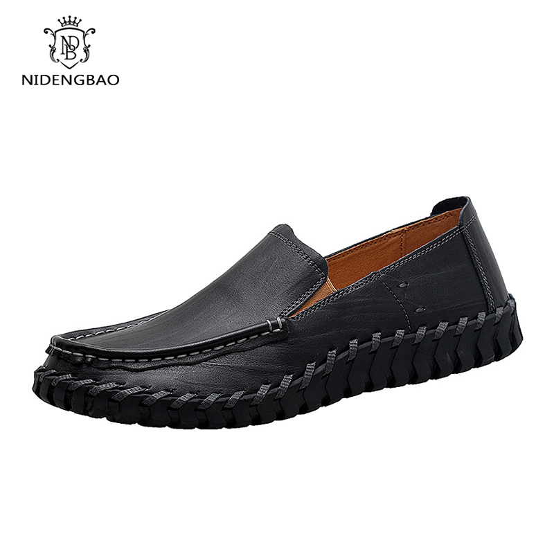 Summer Genuine Leather Men Casual Shoes Men Loafers Moccasins Slip On Men's Flats Breathable Soft Male Driving Handmade Shoes new handmade spring summer soft dough leather flats quality leather men loafers men moccasin casual shoes driving shoes