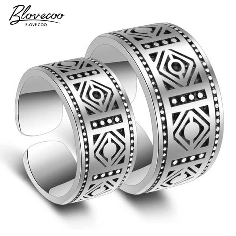 silver Colour new fashion open couple lovers ring high-quality domineering Thai silver size adjustable ring jewelry