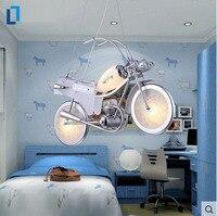 Aluminium motocykl kształt szkła cartoon żyrandol e14 żarówki led nowoczesne lampy dla dzieci sypialnia lampa oświetlenia