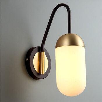 Moderne LED Wand Lampe Goldene Eisen Glas Schatten Wand Lichter Korridor Schlafzimmer Nacht Wohnzimmer TV Wand Leuchte Leuchte