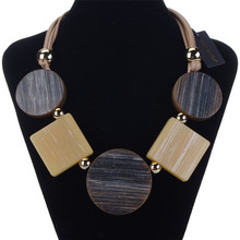 цена на Women Long Necklace Chunky Resin Round Pendant Faux Leather Chain Statement Necklace New Fashion Female Jewelry Gift 450-500mm