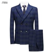 MOGU/модные мужские костюмы тройки, двубортные, Новое поступление 2018, синие и зеленые клетчатые костюмы, облегающий костюм смокинг 5XL