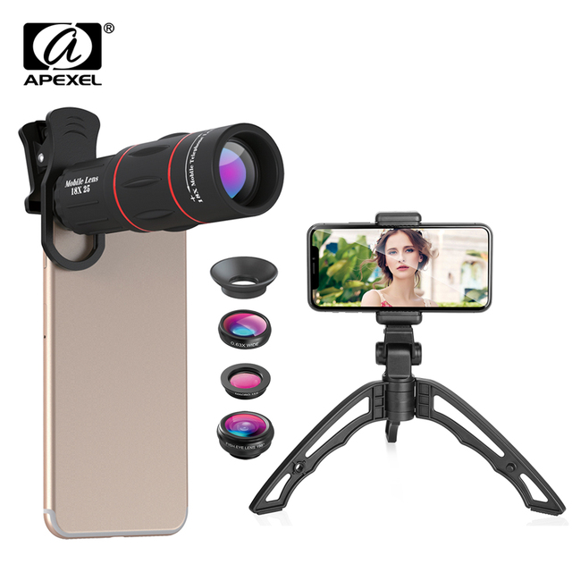 APEXEL 5 in 1 phone camera lens kit 18X Telescope Monocular lens +fisheye wide macro lens+selfie tripod for iPhone 7 8 X android