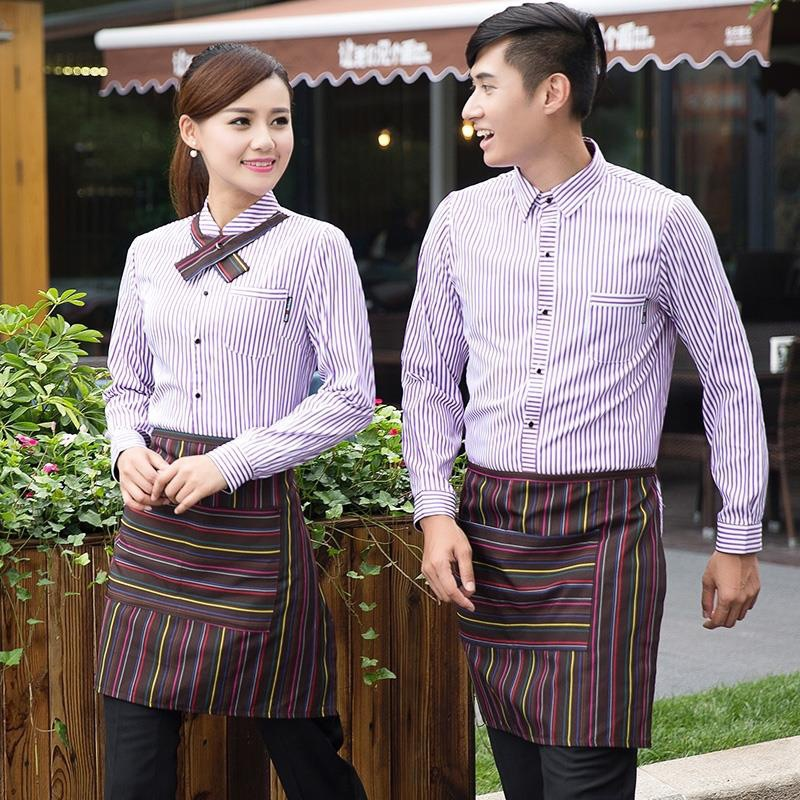 Fast Food Shop Waitress Uniform Restaurant Long Sleeve Women's Overalls Shirts Hotel Coffee Shops Dining Waiter Work Wear H2380